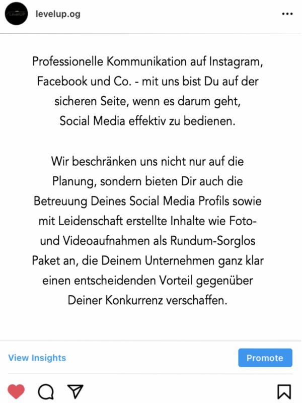 Diese Abbildung zeigt einen Instagram Post der LevelUP Werbeagentur über professionelle Kommunikation auf Social Media.
